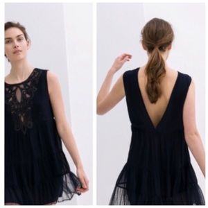 Zara Navy Dress with Embroidered Beads